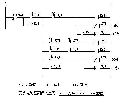 三台电动机顺序启动反顺序停止控制电路