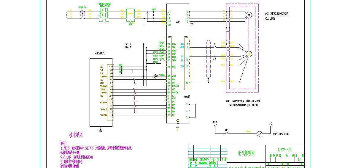 求助:a1sd75 和mr-j3伺服的接线图
