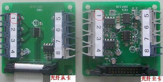 三.并联相关参数设置: 相对于我公司标准变频器(MD320),并联系统在原有基础上增加了FE-07和FE-08。 FE-07:设置变频器运行模式:主机模式,从机模式,单机模式 并联用的每台变频器都可以工作在三种不同模式下:单机运行、并联运行主机、并联运行从机。变频器运行在哪种模式下是由安装在变频器上的光纤板类型(光纤主卡和光纤从卡)和相应的功能码FE-07来决定,只有设置的类型和光纤板类型一致才能正确运行,在运行变频器前一定要正确设置FE-07: FE-07 = 0: 并联的从机;出厂前已经设置好 FE-