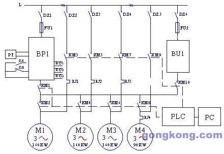 图四 变频恒压供水电气原理图