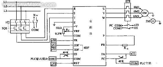 4 控制电路设计  控制电路主要包括电源回路,电机回路,变频器控制电路