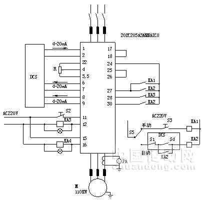 变频器输出频率通过电位器r给定