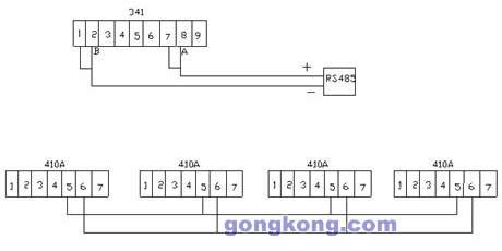 210是变频器的接线端子,341是变频器rs485的接口,410a是变频器syste